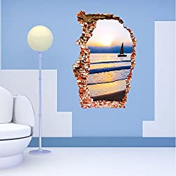 ORDERIN Christmas Gift 3D Fashion Creative Decal Sea Boat Sunset Mural Removable Wall Stickers Wall Art for Wall and Home Decoration