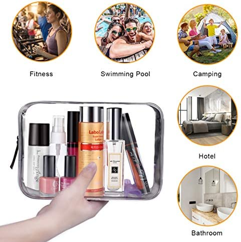Benbilry Clear Travel Toiletry Bag with Zipper, 3PCS TSA Approved Waterproof PVC Travel Luggage Pouch Carry On Cosmetic Makeup Bag Set Handbag Beach Tote Bag for Women and Men