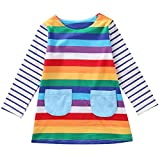Cute Toddler Baby Kids Girl Long Sleeve Striped Rainbow Party Princess Dress Spring Autumn Clothes (4-5 Years, Rainbow)
