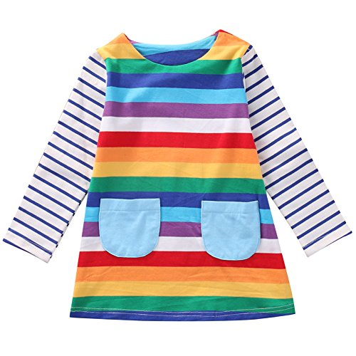 Cute Toddler Baby Kids Girl Long Sleeve Striped Rainbow Party Princess Dress Spring Autumn Clothes (1-2 Years, -