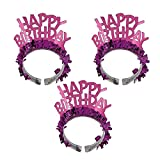 Fancy Dress VIP 3 x Ladies Happy Birthday Pink Tinsel Crown Tiara Girls Night Out Party Headband Accessory