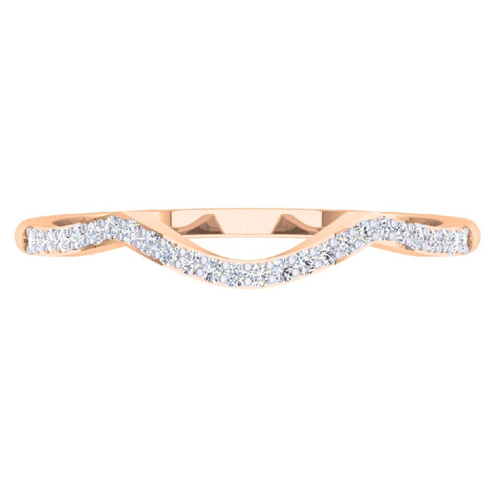 0.12 Carat (ctw) 18K Rose Gold Round Cut Diamond Ladies Wedding Band Contour Guard Ring (Size 5)