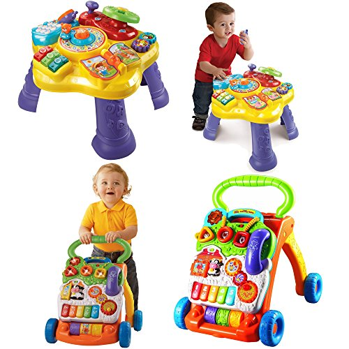 VTech Electronic Musical Educational Learning Brain Development Kids Toys for Toddler, 2-Piece Bundle - Sit to Stand Learning Walker and Magic Star Learning (Things That Start With The Letter V)