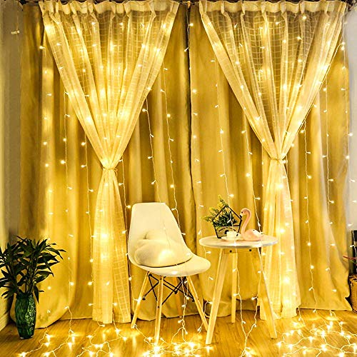 Semoon Curtain Lights 600 LEDs String Lights 8 Modes 6 x3M IP68 Waterproof Fairy Lights for Wedding Party Home Garden Bedroom Wall Decorations with Timer Function Remote Control - Warm White