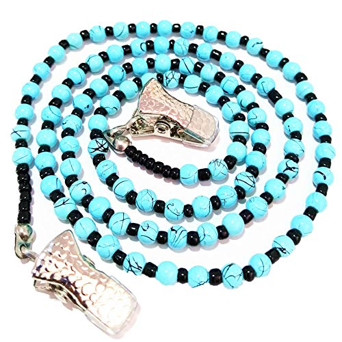 Turquoise Seed Beaded Eyeglasses Chain Strap Women Glasses Holder Grips Retainer Necklace-Blue