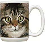 Brown Tabby Cat Face Mug | Large 15 oz Coffee or Tea Mug | Brown Tabby Cat Lovers Gift | Cat Gifts