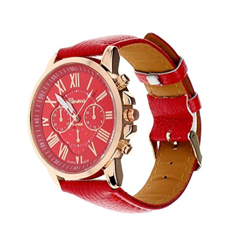 Winhurn Fashion Faux Leather Analog Quartz Women Wrist Watch with Roman Numerals (Red)
