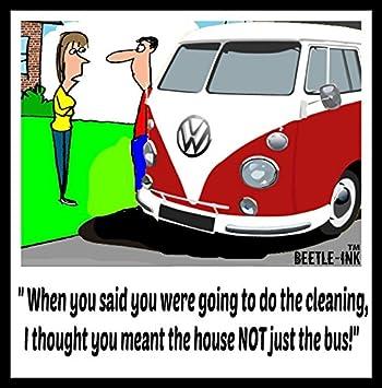 Beetleink Vw Bus Lustige Grusskarte Reinigung Amazon De Kuche