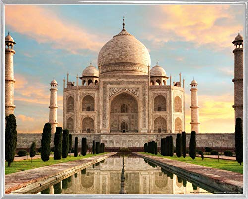 1art1 Taj Mahal Poster Art Print and Frame (Plastic) - The Crown of Palaces in The Morning Sun (20 x 16 inches)