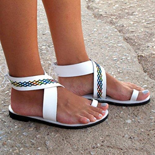 aimtoppyホットセール、夏レディース足指のローマクロスストラップLow Flip Flopsビーチサンダル靴 US:8.5 ブラック AIMTOPPY