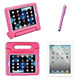 HDE iPad Mini Shock Proof Case Bundle for Kids Foam Bumper Cover Child Handle Stand + Stylus Screen Protector for Apple iPad Mini 1 Mini 2 Mini 3 Retina (Light Pink)