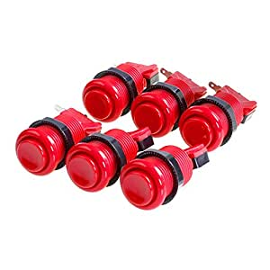 Amatek 6 PCS Happ Arcade Push Button With Microswitches- Red