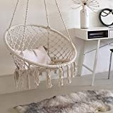 Specification: Material: Iron and cotton rope Style: Simple Frame: Metal skeleton Volume: 0.06 cubic meters Specifications: Outer diameter is 0.8 meters round Color: Beige Maximum load: 110KG Swing: 1.2 meters high Package Weight:5.33kg Package Size...
