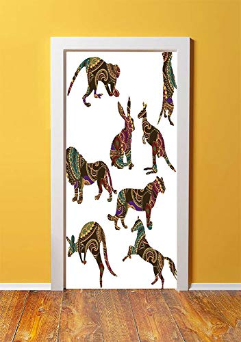 (Tropical Animals 3D Door Sticker Wall Decals Mural Wallpaper,Heart Shape Seahorse Couple Kissing with Bubbles Underwater Love Marine,DIY Art Home Decor Poster Decoration 30.3x78.13422,Orange)