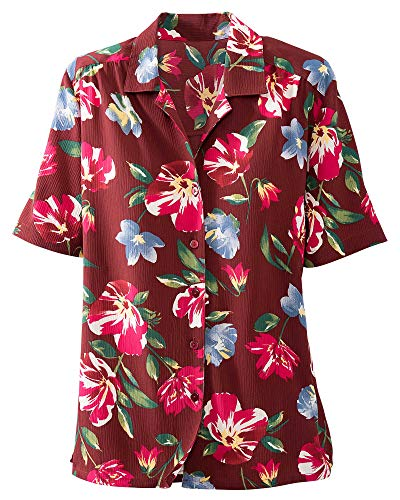 (Donnkenny Printed Camp Shirt, Floral, 2X)