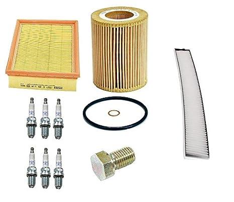 Kit de limpieza Bujías NGK Mann aceite + filtros de aire magnético tapón de drenaje para BMW E46 E39: Amazon.es: Coche y moto
