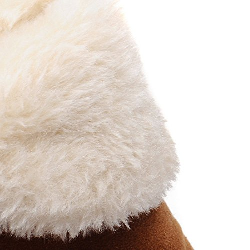 Slip Slip Inverno Scarpe Donne Donne Donne Pelle on Stivaletti Neve Outdoor Casual Pelliccia alla Scamosciata in Pelle da Appartamenti Walking Caldi Moda Marrone Stivali Foderato Caviglia FFOwxfnqt
