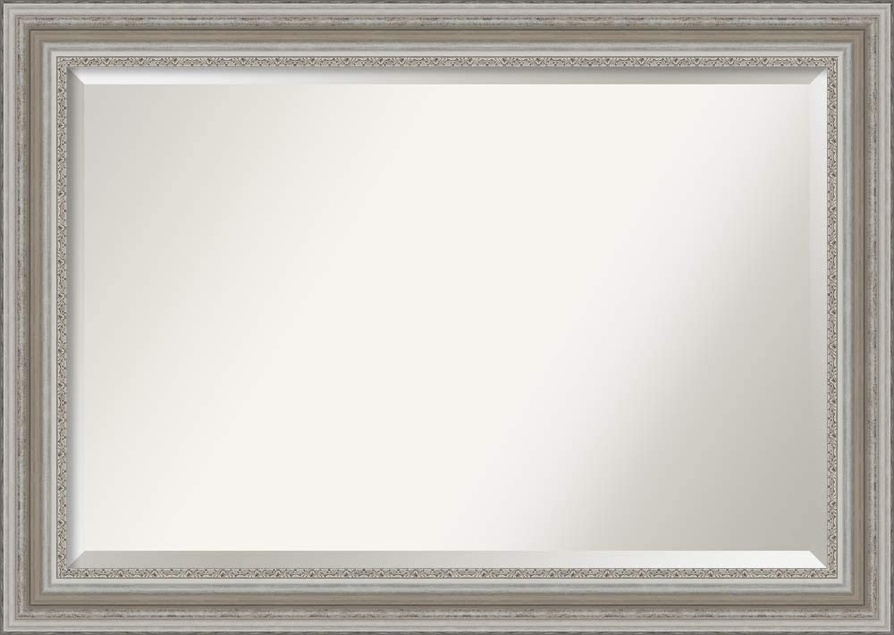 Amanti Art Framed Vanity Mirror | Bathroom Mirrors for Wall | Parlor Silver Mirror | Wall Mounted Mirror | Large Mirror | 29.50 x 41.50 in.