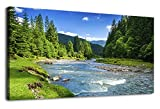 Canvas Wall Art River Through Forests Painting Nature Pictures Panoramic Canvas Arotwork Green Trees Huge Mountain Spring Season Wall Art for Home Office Decoration Framed Ready to Hang 20'' x 40''