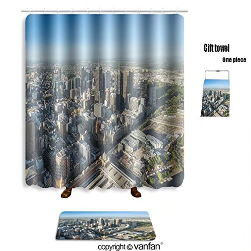 vanfan bath sets with Polyester rugs and shower curtain melbourne city central area from top view 367 shower curtains sets bathroom 72 x 78 inches&31.5 x 19.7 inches(Free 1 towel - Map Melbourne Central