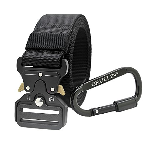 (GRULLIN Tactical Nylon Belt, Heavy Duty EDC Waist Belt Operator MOLLE Riggers Clip Belt)