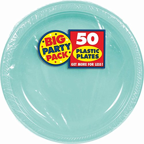 Robin's Egg Blue Plastic Luncheon Plates Big Party Pack, 50 Ct.