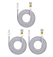 Flat Braided Lightning Cables for iPhone 6s, 6, 6 Plus - 2m (Wte wte wte)