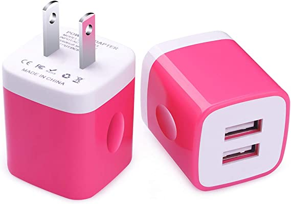 Samsung S9 S8 S7 S6 Note 9 8 FiveBox 2Pack Dual Port USB Wall Charger Brick Plug 2.1A Charging Base Block USB Charger Cube Box Compatible iPhone Xs Max//XR//X//8//7//6//6s HTC LG iPad Android Phone