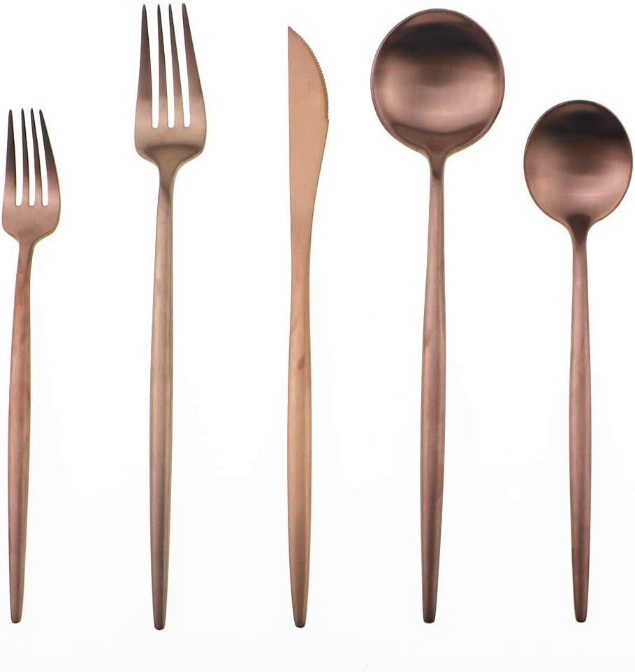 Gugrida 20-Piece 18/10 Stainless Steel Flatware Silverware, Luxury Dinnerware Set Travel Cutlery Tableware Include Knife Fork Spoon Service for 4,Healthy & Eco-Friendly Dishwasher Safe (Rose Gold)
