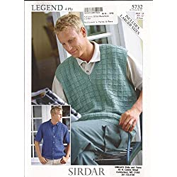 Men's 4 Ply Waistocat & Slipover (Vests) - Sirdar Knitting Pattern 5732