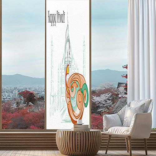 YOLIYANA Privacy Frosted Decorative Vinyl Decal Window Film,Diwali Decor,for Bathroom, Kitchen, Home, Easy to Install,Abstract Palace Taj Mahal Like Sketch with Modern,24''x78''