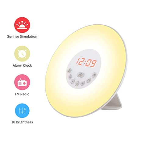 Wake Up Light, Despertador luz LED con Radio FM, 6 Sonidos Naturales, 7 Luces LED de Colores & Simulación de Amanecer / Atardecer para Casa, ...