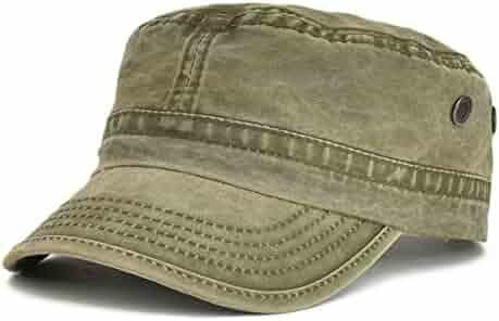 55a1cdc9 VOBOOM Washed Cotton Military Caps Cadet Army Caps Unique Design Vintage  Flat Top Cap