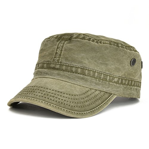 VOBOOM Washed Cotton Military Caps Cadet Army Caps Unique Design (Army Green) -