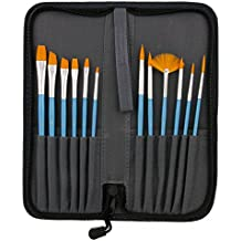 US Art Supply 12-Piece Short Handle Nylon Hair Artist Paint Brush Set Blue Handle with Carry Case