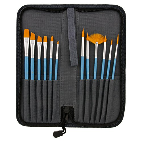 US Art Supply 12-Piece Short Handle Nylon Hair Artist Paint
