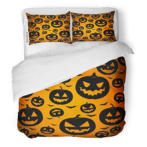 Tarolo Bedding Duvet Cover Set Orange Pattern Jack O Lantern Silhouette Halloween Pumpkin Scary Face Black 3 Piece King 104