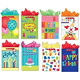 Jumbo Birthday Gift Bags Set of 8 Different Designed Jumbo Paper Gift Bags with Packing Tissue Paper and Gift Bag Tags
