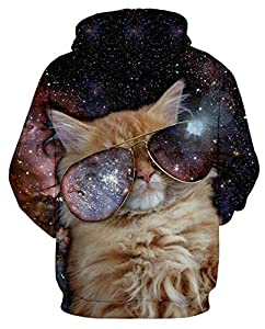 GLUDEAR Unisex 3D Galaxy Funny Cat Pullover Novelty Hoodies Long Sleeve Sweatshirt Outwear,Glasses Cat,9-10Y