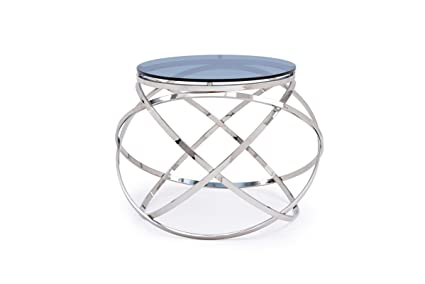 Modrest Tulare Contemporary Smoked Glass End Table Smoked/Glass/Round
