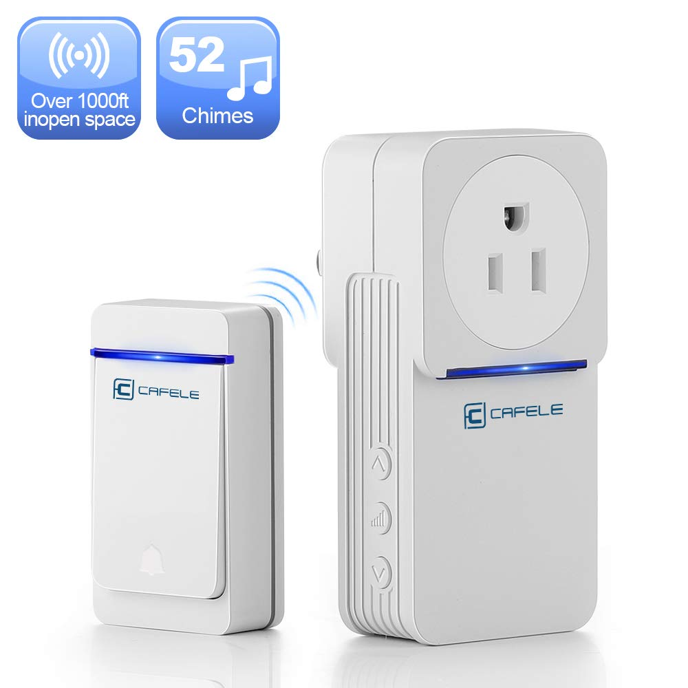 Wireless doorbell with Socket, CAFELE Waterproof Door Bell Chime, Over 1000 Feet Operating Range, Doorbells Kit with 52 Melodies, 5 Volume Levels & LED Flash for Home Office Classroom - White