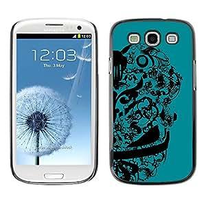 TopCaseStore / la caja del caucho duro de la cubierta de protección de la piel - Abstract Floral Design - Samsung Galaxy S3 I9300