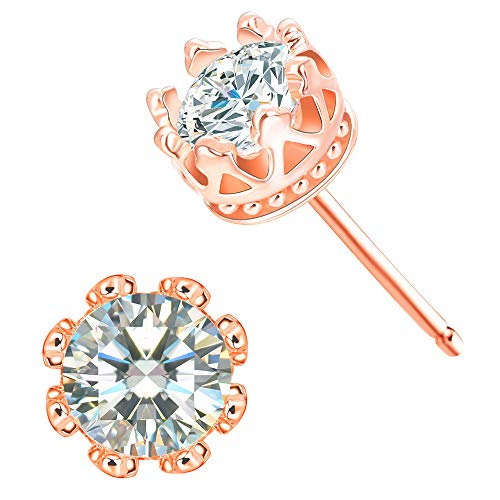 CZ Stud Earrings For Women - 18k Rose Gold Plated Crown Cubic Zirconia Earrings