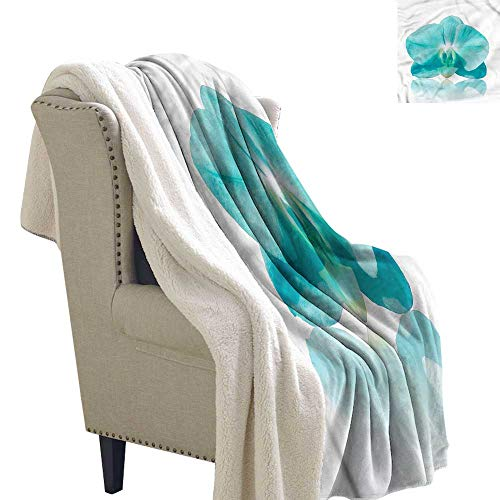 - AndyTours Lamb Velvet Blanket Aqua Blue Orchid Nature Botanic Upgraded Thick Lazy Blanket Blanket W59 x L78