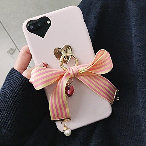 MXNET IPhone 7 Plus Case, Bowknot Ribbon Style Soft TPU Schutzhülle mit Jewel Anhänger CASE FÜR IPHONE 7 PLUS ( SKU : Ip7p6211y )