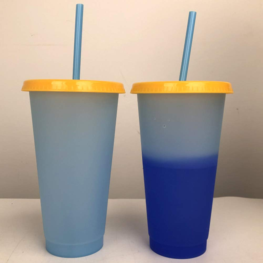 2019 Reusable Color Changing Stadium Cup with Drinking Straw and Lids Green