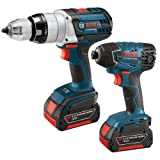 Bosch CLPK221-181 18-Volt Lithium-Ion 2-Tool Combo Kit with 1/2-Inch Brute Tough Drill/Driver, Impact Driver, 2 Batteries, Charger and Case