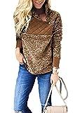 Alelly Women's Long Sleeve Oblique Neck Fleece Pullover Sweatshirts Outwear Tops