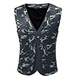 Men Tops Blouses Clearance WEUIE Men Printing Casual Printed Sleeveless Jacket Coat British Suit Vest Blouse (2XL, Green )