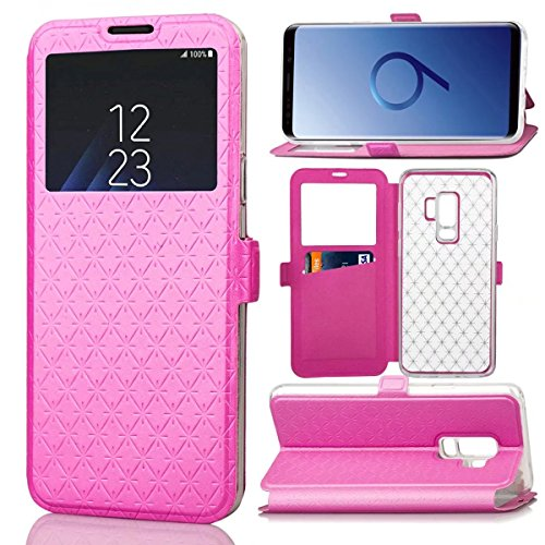 Galaxy S9+ Plus Case, ArtMine Grid Pattern Flip Leather Window View Design Slim Fit Case Cover for Samsung Galaxy S9+ Plus 6.2-inch, Hot Pink